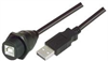 USB Cable, Waterproof Type B Female - Standard Type A Male, 3.0m -- WPUSBBA-3M -Image