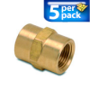Connector Air Fitting: female, brass, for 3/8in NPT to 3/8in NPT, 5/pk -- BFFC-38N -- View Larger Image