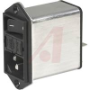 AC inlet with line filter, switch, fuseholder, 1-pole, 4 amp filter, 5x20mm fuse -- 70080280 - Image