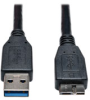 USB 3.0 SuperSpeed Device Cable (A to Micro-B M/M) Black - 10 Piece Bulk Pack, 1-ft. -- U326-001-BK-10