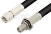 SMA Male to SMA Female Bulkhead Cable 36 Inch Length Using 75 Ohm RG59 Coax, RoHS -- PE3871LF-36 -Image
