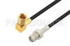 SMA Female to SSMC Plug Right Angle Low Loss Cable 36 Inch Length Using LMR-100 Coax -- PE3C4427-36 -Image