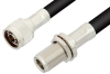 N Male to N Female Bulkhead Cable 24 Inch Length Using RG8 Coax -- PE3966-24 -Image