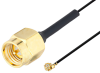 SMA Male to UMCX 2.5 Plug Cable 12 Inch Length Using 0.81mm Coax, RoHS -- PE3CA1023-12 -Image