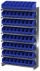 Akro-Mils APRS 400 lb Blue / Green / Red / White / Yellow Gray Powder Coated Steel 16 ga Single Sided Fixed Rack - 36 3/4 in Overall Length - 64 Bins - Bins Included - APRS040 -- APRS040 - Image