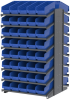 Akro-Mils 1800 lb Blue Gray Powder Coated Steel 16 ga Double Sided Fixed Rack - 36 3/4 in Overall Length - 80 Bins - Bins Included - APRD18098 BLUE -- APRD18098 BLUE - Image