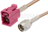 SMA Male to Violet FAKRA Jack Cable 24 Inch Length Using RG316 Coax -- PE39348H-24 -Image