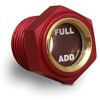 """Red Annodized Gasketed Window Sight with """"Add"""" and """"Full"""" Markings, 15/16"""" Hex, 1/2"""