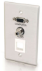 Single Gang HD15 + 3.5mm + (1) Keystone Wall Plate - Brushed Aluminum -- 2225-40572-ADT