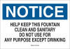 Brady B-401 Polystyrene Rectangle White Water Sanitation Sign - 10 in Width x 7 in Height - 22790 -- 754476-22790