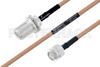 MIL-DTL-17 N Female Bulkhead to TNC Male Cable 72 Inch Length Using M17/128-RG400 Coax -- PE3M0078-72 -Image