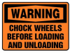 Warning Chock Wheels Before Loading And Unloading Sign -- SGN1002