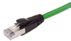 Plenum Rated Shielded Category 6a Cable, RJ45/RJ45, 23AWG Solid, Green, 7.0ft -- TAA00008-7F -Image