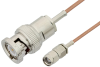 Reverse Polarity SMA Male to BNC Male Cable 12 Inch Length Using RG178 Coax, RoHS -- PE35213LF-12 -Image