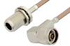 N Male Right Angle to N Female Bulkhead Cable 36 Inch Length Using RG400 Coax -- PE33528-36 -Image