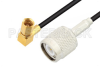 SSMC Plug Right Angle to TNC Male Low Loss Cable 6 Inch Length Using LMR-100 Coax -- PE3C4435-6 -Image