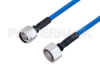 Plenum N Male to 4.1/9.5 Mini DIN Male Low PIM Cable 12 Inch Length Using SPP-250-LLPL Coax , LF Solder -- PE3C4140-12 -Image