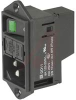 Inlet PEM, Screw-on flange, 1-pole fuseholder, 2-pole lineswitch, green illumina -- 70080286 - Image