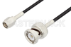 SMA Male to BNC Male Cable 72 Inch Length Using RG174 Coax, LF Solder, RoHS -- PE3C3328LF-72 -Image