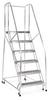 Rolling Ladder,6 Step,Handrails,Aluminum -- A6R1824A3B3C50P6