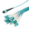 MPO w/ pins to LC fan-out, 2.0mm diameter, 24 fiber, OM3 50/125um Multimode, OFNR Jacket, Aqua, 1 meter -- MPM24OM3-20LCR-1 -Image