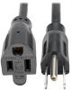 1 Ft. Extension Cord, NEMA 5-15P to NEMA 5-15R - 13A, 120V, 16 AWG, Black -- P024-001-13A - Image
