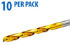 Jobber Drill Bit: heavy duty HSS, TiN coated, 13/64 inch dia., 10/pk -- 250810T -- View Larger Image