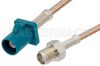 SMA Female to Water Blue FAKRA Plug Cable 48 Inch Length Using RG316 Coax -- PE39346Z-48 -Image