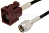 SMA Male to Bordeaux FAKRA Jack Cable 60 Inch Length Using PE-C100-LSZH Coax -- PE39347D-60 -Image
