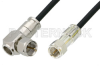 75 Ohm F Male to 75 Ohm F Male Right Angle Cable 48 Inch Length Using 75 Ohm PE-B159-BK Black Coax -- PE38137/BK-48 -Image