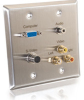 Double Gang HD15 VGA + 3.5mm + S-Video + RCA Audio/Video Wall Plate - Stainless Steel -- 2225-40968-ADT - Image