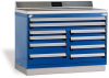 Heavy-Duty Cabinet with Accessories, Double Bank, 10 drawers (48