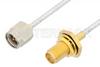 SMA Male to SMA Female Bulkhead Cable 6 Inch Length Using PE-SR405FL Coax -- PE3961-6 -Image