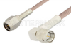 SMA Male to SMA Male Right Angle Cable 12 Inch Length Using 95 Ohm RG180 Coax, RoHS -- PE3352LF-12 -Image