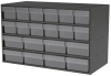 Akro-Mils Akrodrawers 120 lb Charcoal Gray Powder Coated, Textured Stackable Cabinet - 17 in Overall Length - 35 in Width - 22 in Height - 12, 8 Drawer - Non-Lockable - AD3517CAST CLEAR -- AD3517CAST CLEAR