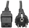 C19 to Schuko, EU Power Cord - 16A, 250V, 16 AWG, 8 ft. (2.4 m), Black -- P050-008 - Image