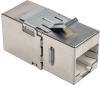 Cat6a Straight-Through Modular Shielded In-Line Snap-In Coupler with 90-Degree Down-Angled Port (RJ45 F/F), TAA -- N235-001-SH-6AD