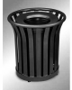 Americana Open Top Outdoor Metal Trash Can -- GPR409-BLACK