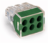 PUSH WIRE® connector for junction boxes; 6-conductor terminal block; transparent housing; green cover -- 773-116