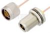 N Male to N Female Bulkhead Cable 48 Inch Length Using RG405 Coax -- PE3922-48 -Image