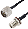 N Male to N Female Bulkhead Cable Assembly using LC141TBJ Coax, 1.5 FT -- LCCA30101-FT1.5 -Image