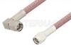 SMA Male to SMA Male Right Angle Cable 6 Inch Length Using RG142 Coax, RoHS -- PE3512LF-6 -Image