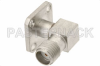 SMA Female Right Angle Field Replaceable Connector With EMI Gasket 4 Hole Flange Mount .018 inch Pin -- PE44017 -Image