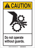 Brady Fiberglass Reinforced Polyester Rectangle White Machine & Equipment Sign - 10 in Width x 14 in Height - TEXT: CAUTION DO NOT OPERATE WITHOUT GUARDS - 45040 -- 754476-45040