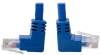 Cat6 UTP Patch Cable (RJ45), Up-Angle Male/Down-Angle Male - 3 ft., Gigabit, Molded, Blue -- N204-003-BL-UD