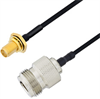 N Female to SMA Female Bulkhead Cable Assembly using LC085TBJ Coax, 6 FT -- LCCA30619-FT6 -Image