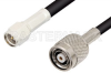 SMA Male to Reverse Polarity TNC Male Cable 12 Inch Length Using RG58 Coax, RoHS -- PE34853LF-12 -Image