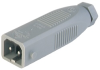 Rectangular Field Attachable Power Connector (ST Series): Male, straight with strain relief and coding slot , 2-pin+PE, grey housing, 230 V AC/DC, 16 A AC/6 A DC -- STAS 200 - Image