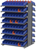 Akro-Mils 1800 lb Blue Gray Powder Coated Steel 16 ga Double Sided Fixed Rack - 36 3/4 in Overall Length - 132 Bins - Bins Included - APRD1836448 BLUE -- APRD1836448 BLUE - Image
