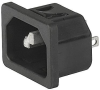 IEC Appliance Inlet C14, Snap-in Mounting, Front Side, Solder or Quick-connect Terminal